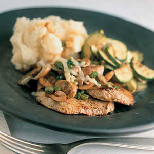 Veal Cutlets with Merlot Mushrooms and ZucchiniRecipe