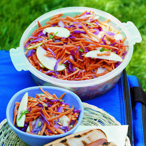 Carrot, Cabbage, and Apple Slaw with Cumin Lime DressingRecipe