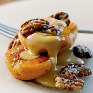 Roasted Apricots with Sugared Pecans and Dulce de LecheRecipe