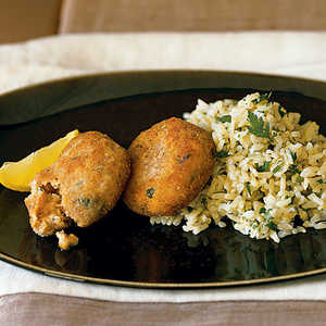 Salmon Cakes with Lemon RiceRecipe