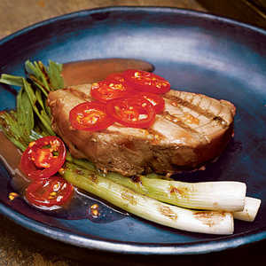 Tuna Steaks with Grilled Scallions and TomatoesRecipe