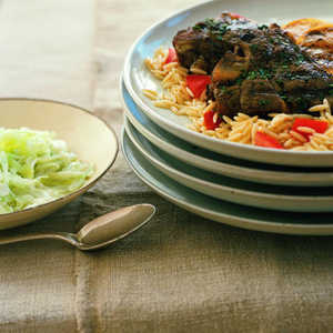 Grilled Oregano-Lemon Lamb Chops with Orzo Recipe