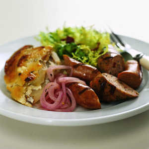 Grilled Sausages with Pickled OnionsRecipe