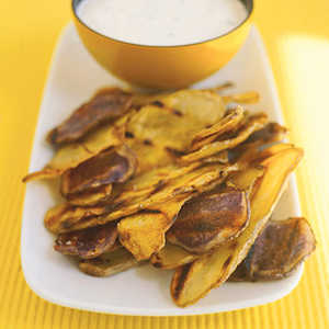 Grilled Potato Chips With Chive DipRecipe