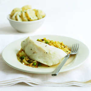 Poached Cod with Cabbage and Peas Recipe