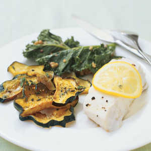 Steamed Halibut with Kale and Walnuts Recipe