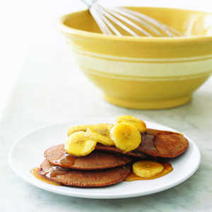 Chocolaty Pancakes with Sauteed BananasRecipe