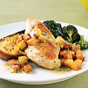 Sautéed Chicken with Sweet Potatoes and PearsRecipe