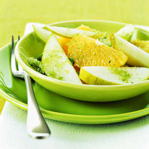 Sliced Oranges and Pears with Mint Sugar Recipe