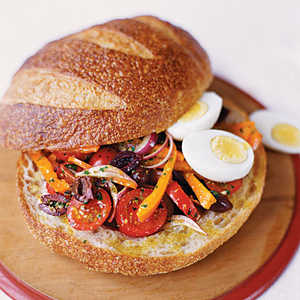 Pressed Summer Sandwich with Eggs and Anchovies Recipe