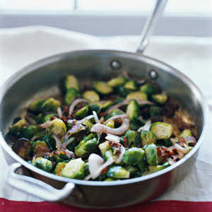 """""""Sautéed Brussels Sprouts with Bacon and Golden Raisins""""Recipe"""