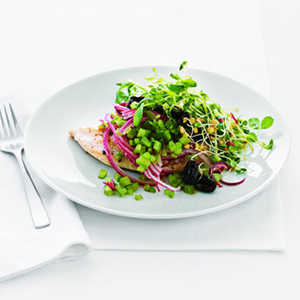 Chicken Paillard with Black Olive and Sprout SaladRecipe
