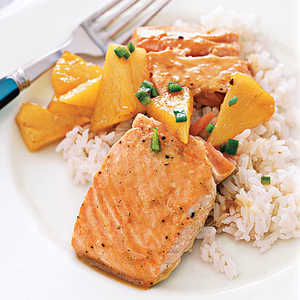 Maple-Glazed Salmon with PineappleRecipe