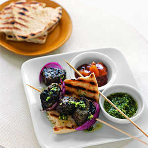 Indian-Style Beef Kebabs with Cilantro SauceRecipe