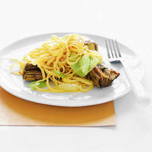 Linguine with Artichokes and LeeksRecipe