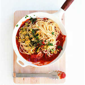 Linguine with Caper and Green Olive Sauce Recipe
