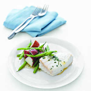 Poached Halibut with Green Beans and Red PotatoesRecipe