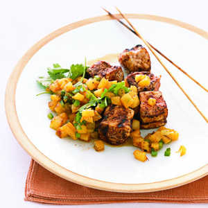 Chili-Rubbed Pork Kebabs with Pineapple SalsaRecipe