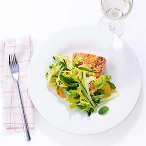 Glazed Salmon with Mint and Cucumber SlawRecipe
