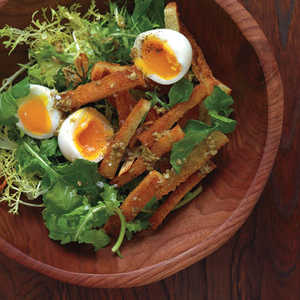 Soft-Boiled Eggs with Warm Croutons and Greens Recipe
