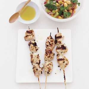 Chicken Kebabs with Chickpea SaladRecipe