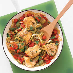 Golden Chicken with Tomatoes and OlivesRecipe