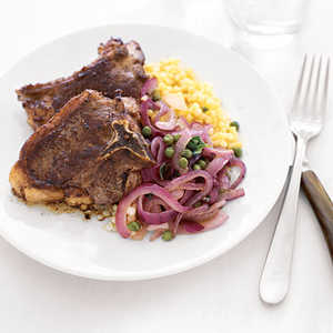Lamb Chops with Caramelized Red Onion Salad Recipe