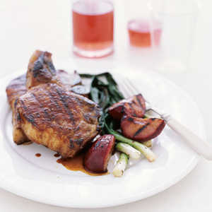 Five-Spice Pork Chops with Grilled Plums Recipe