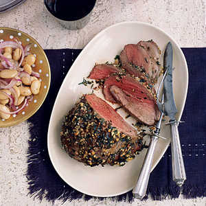 Roasted Tarragon Lamb with Butter Beans Recipe