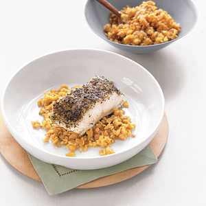 Spice-Baked Sea Bass and Red Lentils Recipe