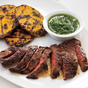 Grilled Skirt Steak and Potatoes with Herb SauceRecipe