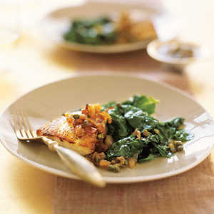 Striped Bass with Toasted-Shallot Vinaigrette and SpinachRecipe