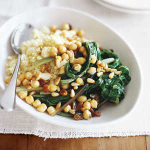 Swiss Chard with Chickpeas and CouscousRecipe