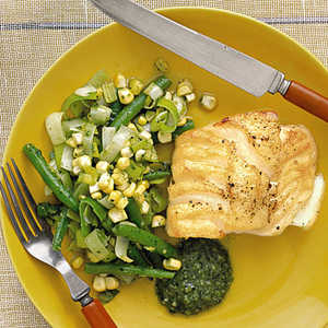 Cod with Beans, Corn, and PestoRecipe