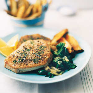 Pepper-Crusted Tuna with Oven Fries and Lemon SpinachRecipe