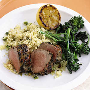 Grilled Pork and Broccoli Rabe with Pistachio CouscousRecipe