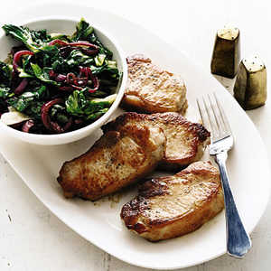 Pork Chops with Escarole and Balsamic Onions Recipe