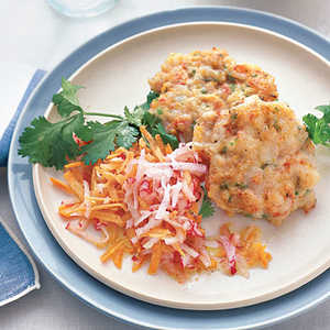 Shrimp Cakes with Carrot SlawRecipe