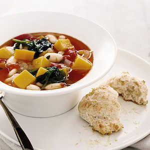 Squash and White Bean Soup with Parmesan BiscuitsRecipe