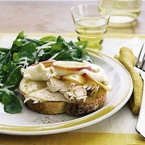 Open-Face Turkey, Brie, and Nectarine Sandwiches with Arugala SaladRecipe