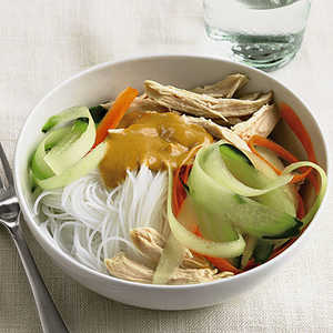 Peanut Butter and Chicken Noodles With Carrot and Cucumber RibbonsRecipe