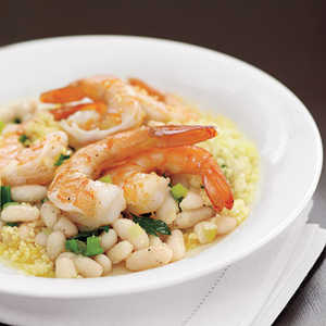 Lemony Shrimp with White Beans and CouscousRecipe