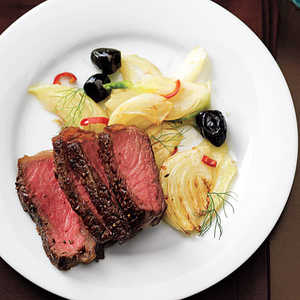 Steak with Sautéed Fennel and OlivesRecipe