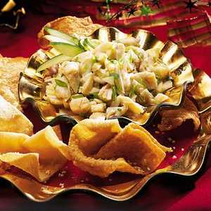Spicy Crab-and-Ginger Salsa with Sesame Wontons Recipe