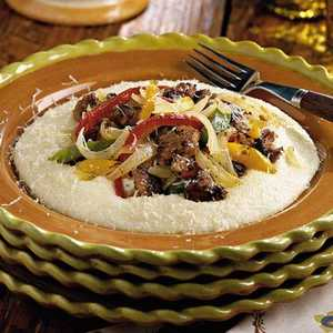 Sausage and Peppers With Parmesan Cheese GritsRecipe