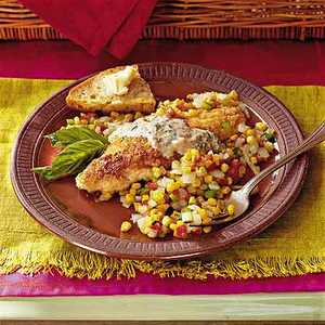 Spicy Catfish with Vegetables and Basil Cream Recipe