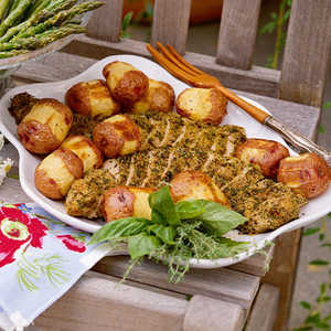 Herb-Crusted Pork Tenderloin with Horseradish-Roasted New Potatoes Recipe