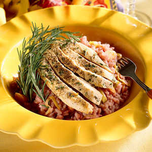 Pinot Noir Risotto With Rosemary ChickenRecipe