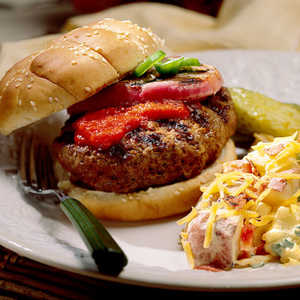 Jalapeño-Stuffed Burgers With Roasted Bell Pepper Ketchup Recipe