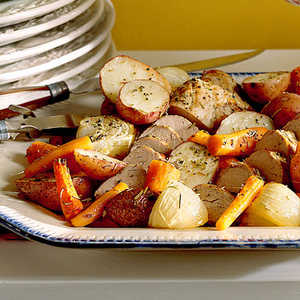Oven-Roasted Vegetables and Pork Recipe